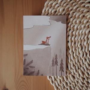 """""""Róka"""" A6 méretű képeslap, Művészet, Grafika & Illusztráció, Fotó, grafika, rajz, illusztráció, A6 méretű (105x148 mm) képeslap 300 g matt hatású 100% újrahasznosított kreatívpapíron*\n\n*A képen lá..., Meska"""