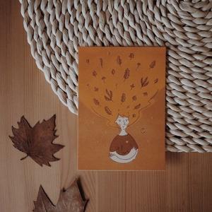"""""""Autumn girl"""" A6 méretű képeslap, Művészet, Grafika & Illusztráció, Fotó, grafika, rajz, illusztráció, A6 méretű (105x148 mm) képeslap 300 g matt hatású 100% újrahasznosított kreatívpapíron*\n\n*A képen lá..., Meska"""