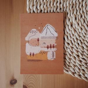 """""""Őszi táj"""" képeslap, Művészet, Grafika & Illusztráció, Fotó, grafika, rajz, illusztráció, A6 méretű (105x148 mm) képeslap 300 g matt hatású 100% újrahasznosított kreatívpapíron*\n\n*A képen lá..., Meska"""