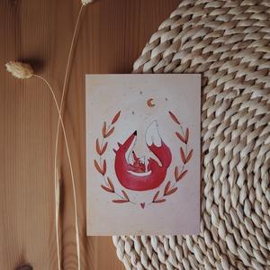 """""""Róka-szeretet"""" A6 print, Művészet, Grafika & Illusztráció, Fotó, grafika, rajz, illusztráció, Újrahasznosított alapanyagból készült termékek, A6 méretű (105x148 mm) print 300 g matt hatású 100% újrahasznosított kreatívpapíron*\n\n*A képen látha..., Meska"""