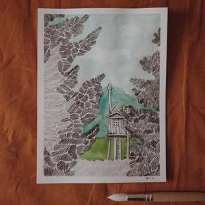 """Arborétum // eredeti festmény A5, Művészet, Festmény, Akvarell, Festészet, A5 méretű 200 gr-os akvarellpapírra készült festmény ceruzarajzzal keverve.\nAz alkotás a """"Manually J..., Meska"""