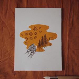"""Úton // eredeti ceruzarajz, Művészet, Grafika & Illusztráció, Fotó, grafika, rajz, illusztráció, A5 méretű 200 gr-os akvarellpapírra készült ceruzarajz.\nAz alkotás a """"Manually January"""" kihívás kere..., Meska"""