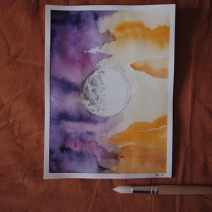"""Nap és Hold // eredeti festmény, Művészet, Festmény, Akvarell, Festészet, A5 méretű 200 gr-os akvarellpapírra készült festmény ceruzarajzzal keverve.\nAz alkotás a """"Manually J..., Meska"""
