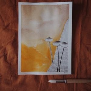 """Gombák // eredeti festmény, Művészet, Festmény, Akvarell, Festészet, A5 méretű 200 gr-os akvarellpapírra készült festmény ceruzarajzzal keverve.\nAz alkotás a """"Manually J..., Meska"""