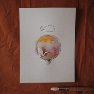 """Csésze teám // eredeti festmény, Művészet, Festmény, Akvarell, Festészet, A5 méretű 200 gr-os akvarellpapírra készült festmény ceruzarajzzal keverve.\nAz alkotás a """"Manually J..., Meska"""