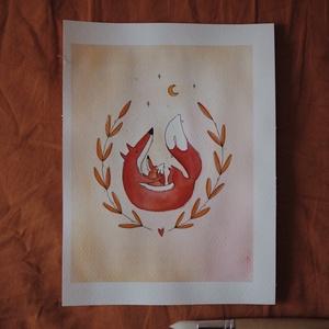"""""""Róka-szeretet"""" // az eredeti verzió, Művészet, Festmény, Akvarell, Festészet, A5 méretű 200 gr-os akvarellpapírra készült festmény ceruzarajzzal keverve.\nAz alkotás a """"Manually J..., Meska"""
