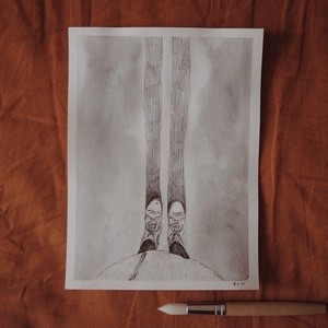 """Előre // eredeti festmény, Művészet, Festmény, Akvarell, Festészet, A5 méretű 200 gr-os akvarellpapírra készült festmény ceruzarajzzal keverve.\nAz alkotás a """"Manually J..., Meska"""