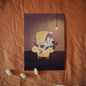 """""""Olvasó kutyus"""" A5 print, Művészet, Grafika & Illusztráció, Fotó, grafika, rajz, illusztráció, A csomag tartalma 1 db A5 (148x210 mm) méretű digitális nyomat 300 g matt hatású 100% újrahasznosíto..., Meska"""