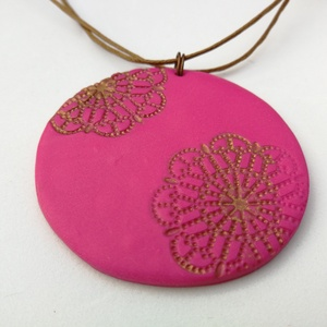 Rózsaszín mandala nyaklánc (sztykee) - Meska.hu