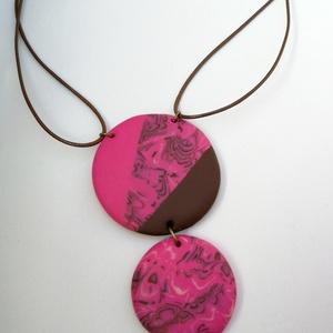 Pink-barna nyaklánc két medállal (sztykee) - Meska.hu