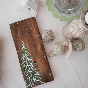 Havas fenyőfa kép, Művészet, Festmény, Famegmunkálás, Festészet, A kép melyet újrahasznosított deszkából készítettünk egy hófödte fenyőt ábrázol. Kézi festésű, nem n..., Meska