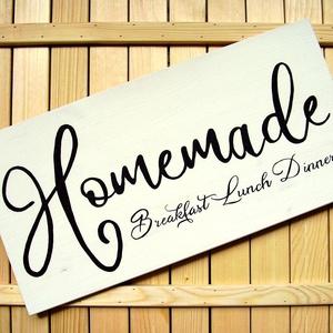 038 Homemade Breakfast Lunch Dinner 60x30 cm, Otthon & lakás, Dekoráció, Kép, Lakberendezés, Falikép, Famegmunkálás, Festett tárgyak, Kézzel készített fa tábla:\n\nalap: fenyő,\nfehér háttérfestés,\nfekete betűk.\n\n(barna fenyő keret külön..., Meska