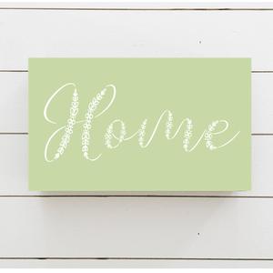 411 Home virágos - zöld 23x11 cm fa tábla, Otthon & lakás, Dekoráció, Kép, Lakberendezés, Falikép, Famegmunkálás, Festett tárgyak, Kézzel készített fa tábla:\n\nalap: újrahasznosított fa,\nzöld háttérfestés,\nfehér virágos betűk.\n\nAz a..., Meska