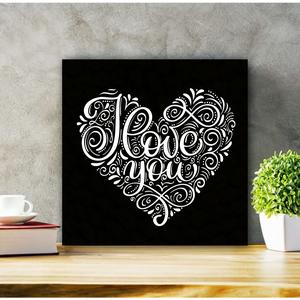 448 I Love You - bármilyen színben rendelhető 20x20 cm fa tábla, Otthon & lakás, Lakberendezés, Falikép, Dekoráció, Kép, Karácsony, Karácsonyi dekoráció, Famegmunkálás, Festett tárgyak, Kézzel készített fa tábla:\n\nalap: nyírfa,\nfehér vagy fekete háttérfestés,\nbármilyen színű betűk,\naka..., Meska