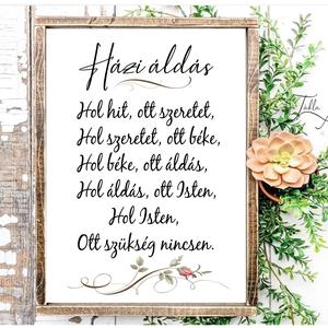 Házi áldás kálás vagy rózsás 40x30 cm fa tábla  - otthon & lakás - spiritualitás & vallás - házi áldás - Meska.hu