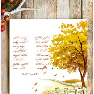 Jött őszanyó hideg széllel 20x20 cm fa tábla, Otthon & Lakás, Dekoráció, Táblakép, Famegmunkálás, Festett tárgyak, Kézzel készített fa tábla:\n\n- alap: nyírfa,\n- fehér háttérfestés,\n- őszi színek,\n- akasztó.\n\nBarna k..., Meska