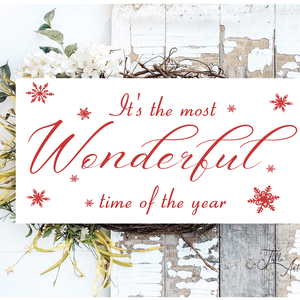 It\'s the most wonderful time of the year - piros 40x20 cm fa tábla, Otthon & Lakás, Karácsony & Mikulás, Karácsonyi dekoráció, Famegmunkálás, Festett tárgyak, Kézzel készített fa tábla:\n\n- alap: nyírfa,\n- fehér háttérfestés,\n- piros betűk,\n- akasztó.\n\nBarna k..., Meska