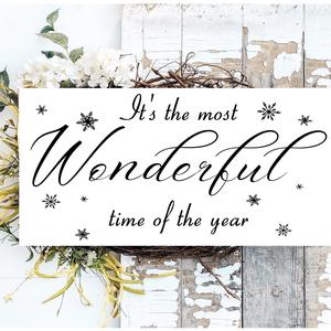 It\'s the most wonderful time of the year - fehér 40x20 cm fa tábla, Otthon & Lakás, Karácsony & Mikulás, Karácsonyi dekoráció, Famegmunkálás, Festett tárgyak, Kézzel készített fa tábla:\n\n- alap: nyírfa,\n- fehér háttérfestés,\n- fekete betűk,\n- akasztó.\n\nBarna ..., Meska