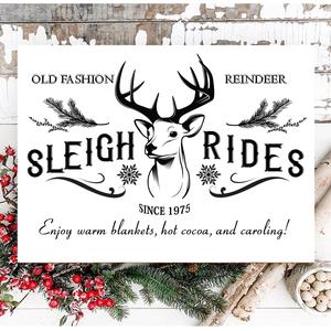 Old fashion reindeer sleigh rides 40x30 cm fa tábla (fehér-piros-fekete-zöld háttérrel), Otthon & Lakás, Karácsony & Mikulás, Karácsonyi dekoráció, Famegmunkálás, Festett tárgyak, Kézzel készített fa tábla:\n\n- alap: nyírfa,\n- fehér vagy zöld vagy fekete vagy piros háttérfestés,\n-..., Meska
