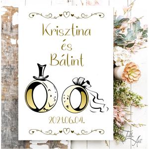 Esküvői gyűrűk 40x30 cm fa tábla - esküvőre, Esküvő, Dekoráció, Helyszíni dekor, Famegmunkálás, Festett tárgyak, Meska
