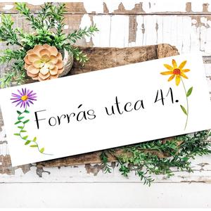 Utca/házszám tábla - választható 3 féle virág mintával 40x20 cm fa tábla, Otthon & Lakás, Ház & Kert, Házszám, Famegmunkálás, Festett tárgyak, Kézzel készített fa tábla:\n\nalap: nyírfa,\nfehér háttérfestés,\nfekete vagy zöld betűk,\nakasztó.\n\nAz a..., Meska