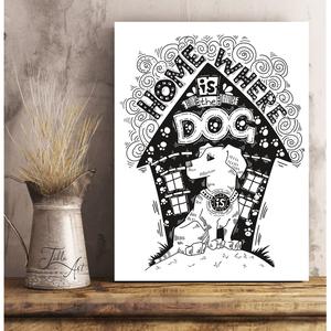 Home is...kutyás, macskás, szerelmes, élet 40x30 cm fa tábla, 4 féle grafikából választhatsz, Otthon & Lakás, Dekoráció, Táblakép, Famegmunkálás, Festett tárgyak, Meska