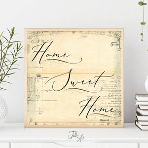 Home sweet home vintage háttérrel 30 cm fa tábla - otthon & lakás - dekoráció - táblakép - Meska.hu