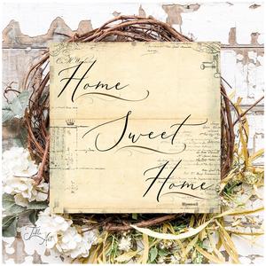 Home sweet home vintage háttérrel 30 cm fa tábla, Otthon & Lakás, Dekoráció, Táblakép, Famegmunkálás, Festett tárgyak, Kézzel készített fa tábla:\n\nalap: nyírfa,\nfehér háttérfestés,\nvintage, kopott háttér és fekete szöve..., Meska