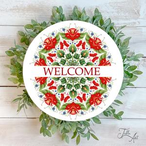 Welcome élénk színű virágokkal 30 cm fa tábla, Otthon & Lakás, Dekoráció, Táblakép, Famegmunkálás, Festett tárgyak, Kézzel készített fa tábla:\n\nalap: nyírfa,\nfehér háttérfestés,\nszínes virágok és bordó szöveg,\nakaszt..., Meska
