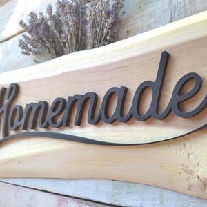 Homemade 3D szöveggel nyers kezeletlen fán vagy barna kopott fán, Otthon & Lakás, Dekoráció, Táblakép, Famegmunkálás, Festett tárgyak, Meska