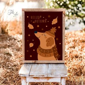 Hello autumn - kutya 40x30 cm őszi fa tábla, Otthon & Lakás, Dekoráció, Táblakép, Famegmunkálás, Festett tárgyak, Meska