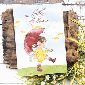 Hello Autumn 40x30 cm őszi fa tábla, Otthon & Lakás, Dekoráció, Táblakép, Famegmunkálás, Festett tárgyak, Meska