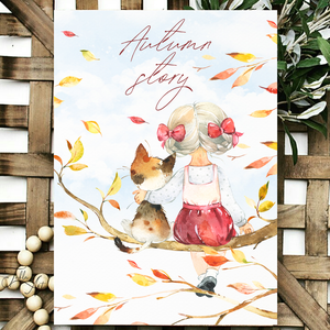 Autumn story 30x20 cm őszi fa tábla, Otthon & Lakás, Dekoráció, Táblakép, Famegmunkálás, Festett tárgyak, Meska