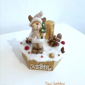 Karácsonyi rénszarvasos asztaldísz, Karácsony & Mikulás, Adventi koszorú, Mindenmás, Személyes átvétel Budapesten., Meska