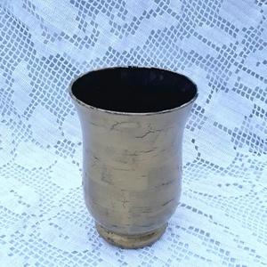 Arany- Fekete üveg váza, Otthon & Lakás, Dekoráció, Váza, Festett tárgyak, Kb.15 cm-es magas., Meska
