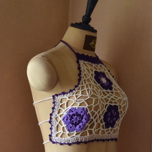 Nyár 1 - cover-up backless top - horgolt hátnélküli top lila mintával - topra vagy ruhára való. Éljen a nyár! - Meska.hu
