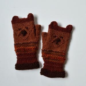 Medve - barna kötött kézmelegítő maci arccal - Jöhet az ősz és a tél! (Taffa) - Meska.hu