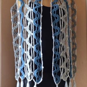 Kék vízesés - horgolt sál kék, fehér és szürke színekből (Taffa) - Meska.hu