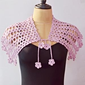 Levendula rózsaszín - horgolt gallérsál virág motívumokkal - Jöhet a tavasz és a nyár!, Táska, Divat & Szépség, Sál, sapka, kesztyű, Ruha, divat, Sál, Esküvő, Horgolás, Enyhén fényes, halvány levendula rózsaszín fonalból horgoltam ezt az áttört sálgallért, mely egy kiv..., Meska