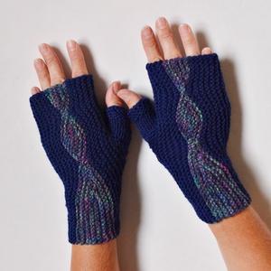 2 in 1 kék kézmelegítő - páva színű kötött kézmelegítő - kétféleképpen hordható! Jöhet a tél! - Meska.hu