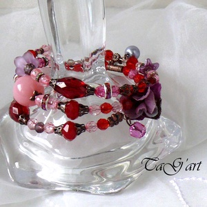 Fukszia (karperec), Ékszer, Karkötő, Memóriadrótos karkötő, Ékszerkészítés, Piros-rózsaszín-lilák... vörösréz  elemek, lucite kehely, zwarovski kristályok felhasználásával kész..., Meska