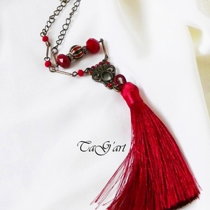 Lejla ( piros, zöld zománcos, selyembojtos nyaklánc) - Meska.hu