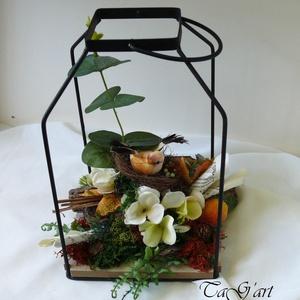 Nyitott kalitka ( asztaldísz, felakasztható, függő dekoráció, ősz ) - Meska.hu