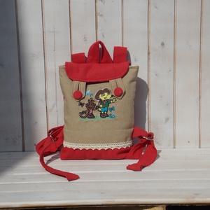 Piros  kislány hátizsák, gyerek táska ovis bölcsis  t, Ovi- és sulikezdés, Ovis zsák & Ovis szett, Ovis hátizsák, Varrás, Hímzés, Meska