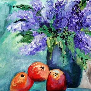 Orgona- narancsokkal- akrill  festmény, Dekoráció, Otthon & lakás, Képzőművészet, Festmény, Akril, Festészet, Akrill festmény\nMérete kb 20x30 cm, kérésre pontos méretet adok.\nTéma: virágcsendélet, orgonacsokor ..., Meska