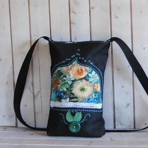 Rita- színes mintás textillel díszített és hímzett farmertáska - táska & tok - kézitáska & válltáska - vállon átvethető táska - Meska.hu