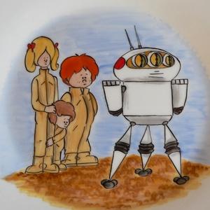 Robotos étkészlet, Gyerek & játék, Konyhafelszerelés, Otthon & lakás, Bögre, csésze, Kerámia, 4 részből álló kerámia gyermek étkészlet,kézzel festve.\n\nA lapos-és leveses tányér 18-19 cm átmérőjű..., Meska