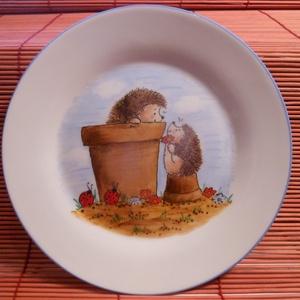 Sünis gyermek étkészlet, Gyerek & játék, Konyhafelszerelés, Otthon & lakás, Bögre, csésze, Kerámia, 3 részből álló kerámia gyermek étkészlet,sünis mintával saját kézzel festve.\nA bögre 2 dl-es, a főze..., Meska