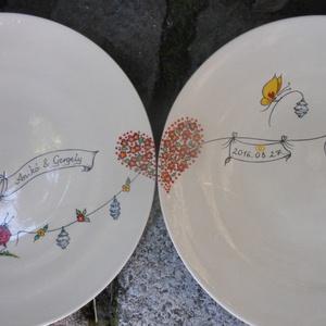 Katicás esküvői készlet, Tálalás, Dekoráció, Esküvő, Kerámia, Magastüzű bézs színű kerámia alapra kézzel festett névre szóló  katicás  szett,4 darabból áll.\nKemen..., Meska