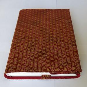 Textil könyvborító, Otthon & Lakás, Könyv- és füzetborító, Papír írószer, Pamutvászonból készült ez az elegáns arany mintás textil könyvborító. Mérete: 21x40 cm (kiterítve). ..., Meska